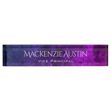 Mystic-Topaz Desk | Blue Pink Purple Ombre Chic Nameplate