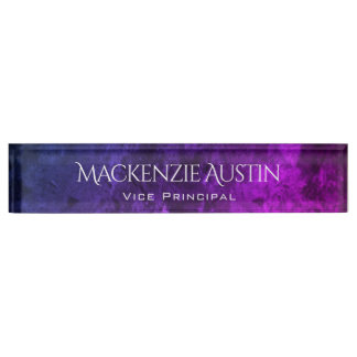 Mystic Topaz Modern Purple Blue Pink Jewel Tones Nameplate