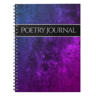 Mystic-Topaz Office | Chic Purple Pink Blue Poetry Notebook