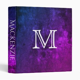 Mystic Topaz Purple Blue Pink Marbled Faux Velvet Binder