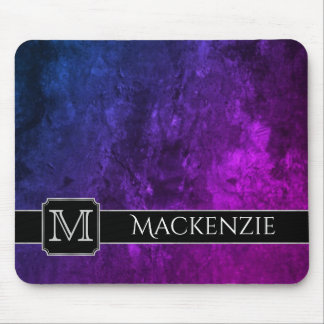 Mystic Topaz Purple Blue Pink Marbled Faux Velvet Mouse Pad