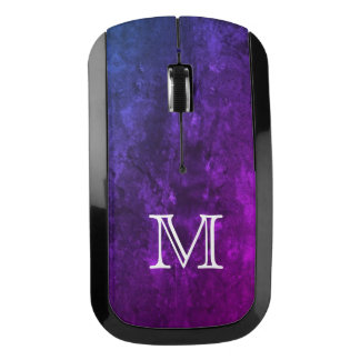 Mystic-Topaz Tech | Monogram Chic Purple Blue Pink Wireless Mouse