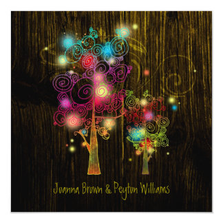 Mystic Trees Chic Country Wedding Card