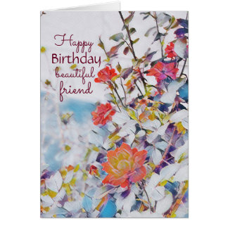 Mystic Watercolor Roses Birthday Card