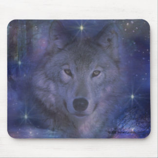 Mystic Wolf in the Moonlight Mouse Pad
