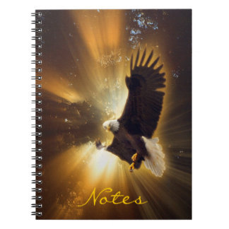 Mystical Bald Eagle & Rays of Sunlight Fantasy Art Spiral Notebook