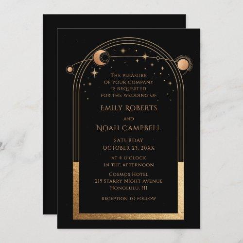 Mystical Black Gold Sun Moon Astronomy Wedding Invitation