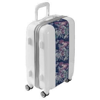 Mystical Blue Purple floral sketch artsy pattern Luggage