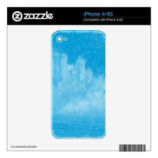 Mystical Castle Baby Blue Snowy Night Decals For The iPhone 4S
