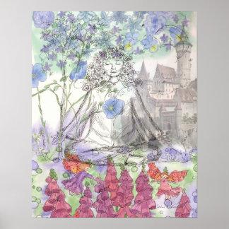 Mystical Castle Floral Collage Print