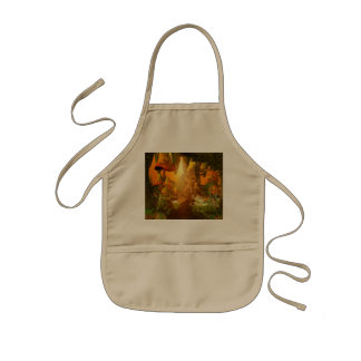 Mystical cave with mushrooms kids' apron