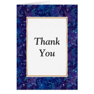 Mystical Deep blue sea starfish on glitters Card