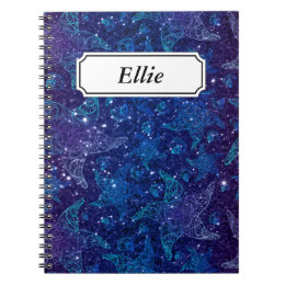 Mystical Deep blue sea starfish on glitters Notebook