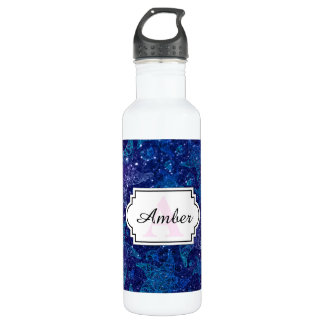 Mystical Deep blue starfish on glitters Water Bottle