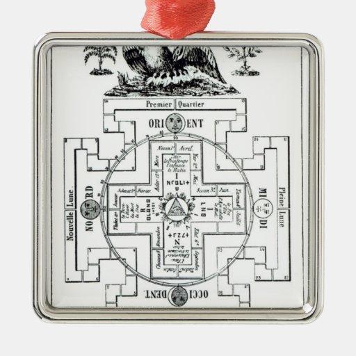 Mystical diagram of Solomon's Square Metal Christmas Ornament