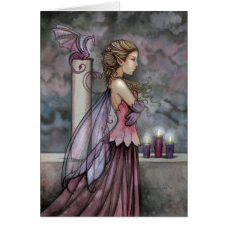 Mystical Fairy and Dragon Card by Molly Harrison