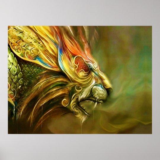 Mystical Fantasy Lion's Head Profile Poster