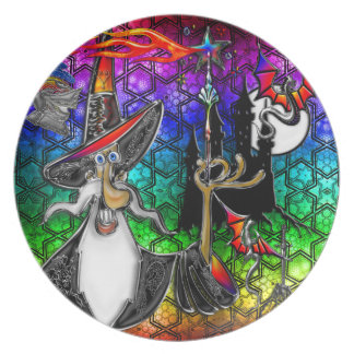 Mystical Fire Wizard Magician Rainbow Star Collage Dinner Plate