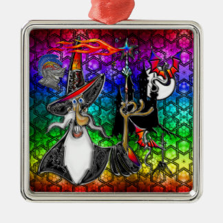 Mystical Fire Wizard Magician Rainbow Star Collage Square Metal Christmas Ornament