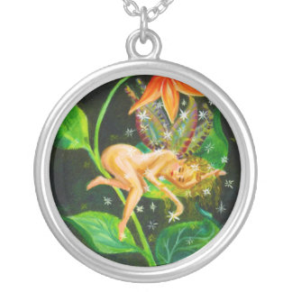 Mystical Florida Fairy Silver Plated Necklace