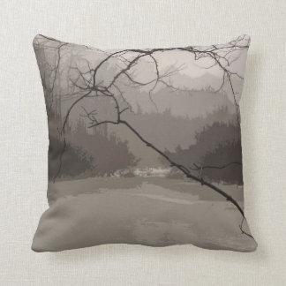 Mystical Fog over Swamp Throw Pillow