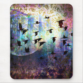 Mystical Forest and Raven Moon Mouse Pad