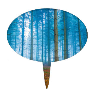 Mystical Forest at the fog in blue and orange Cake Topper