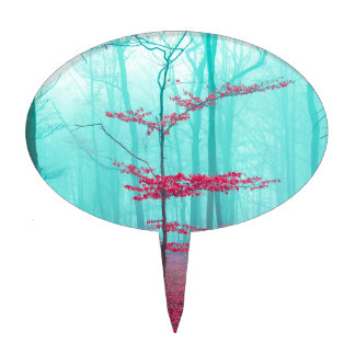 Mystical forest in red and turquoise cake topper