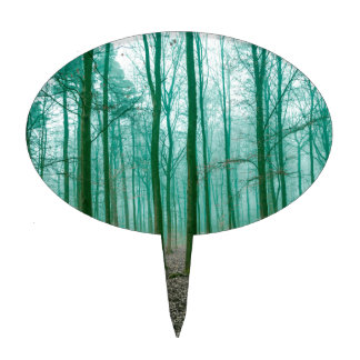 Mystical Forest in the fog in Green Cake Topper
