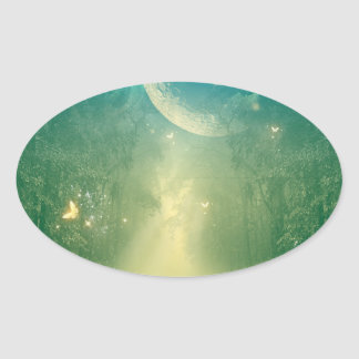 Mystical forest with nebula and moon oval sticker