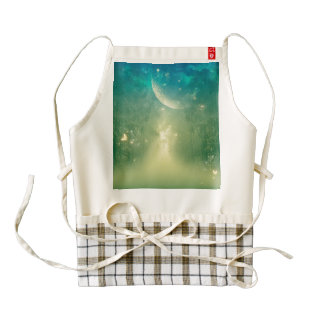 Mystical forest with nebula and moon zazzle HEART apron