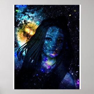 Mystical Galaxy Girl with Dreadlocks Poster