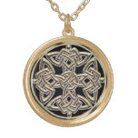 Mystical Gold Celtic Shield Knot Necklace