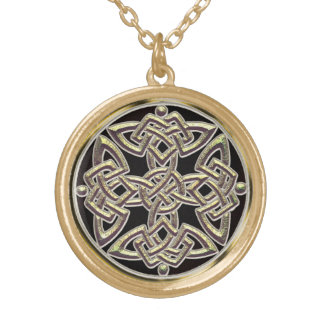 Mystical Gold Celtic Shield Knot Necklace
