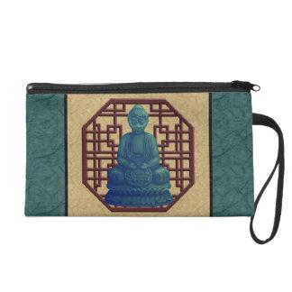 Mystical Green Buddha Pixel Art Wristlets