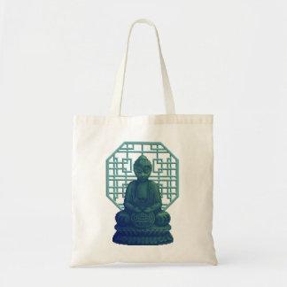 Mystical Green Buddha Pixel Art Budget Tote Bag