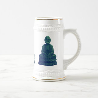 Mystical Green Buddha Pixel Art Mugs