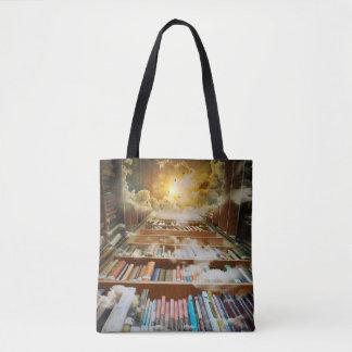 Mystical Infinite Book Shelf Climbing to Heaven Tote Bag