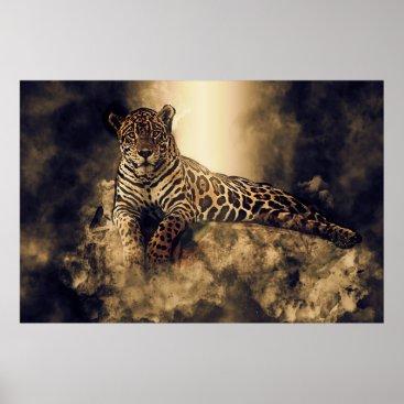Art Themed Mystical Jaguar on a Rock Poster