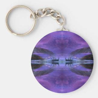 mystical lake sunrise scene basic round button keychain