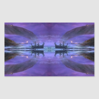 mystical lake sunrise scene rectangular sticker