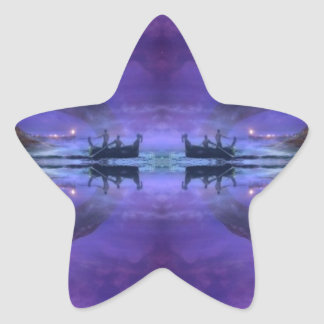 mystical lake sunrise scene star sticker