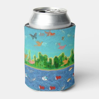 Mystical Landscape in Green Blue Can Cooler