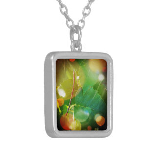 Mystical Leaves Sm. Silver Plated Square Necklace