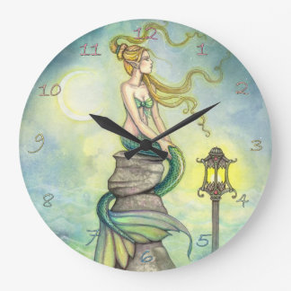Mystical Mermaid Fantasy Art by Molly Harrison Large Clock