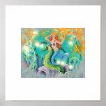 Mystical Mermaid n Seahorse Art Print