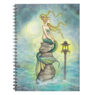 Mystical Mermaid with Lantern and Moon Fantasy Art Notebook