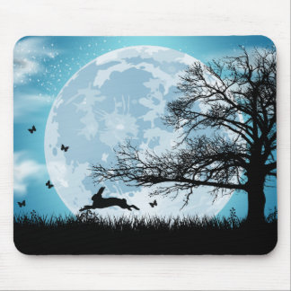 Mystical Moon with Rabbit Silhouette Mouse Pad