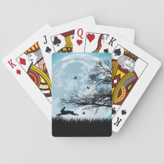 Mystical Moon with Rabbit Silhouette Poker Cards