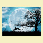 Mystical Moon with Rabbit Silhouette Postcard